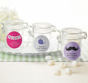 Personalized Baby Shower Small Glass Jars (Printed Label) (Silver, Baby Banner)
