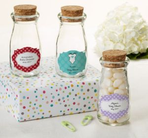 Personalized Baby Shower Glass Milk Bottles with Corks (Printed Label) (Sky Blue, Mod Dots)