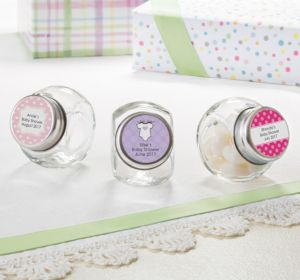 Personalized Baby Shower Glass Candy Jars (Printed Label) (Lavender, Polka Dots)