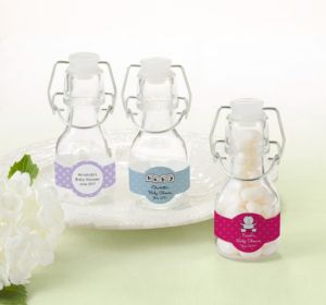 Personalized Baby Shower Glass Swing Top Bottles (Printed Label) (Purple, Pram)