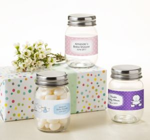 Personalized Baby Shower Mini Glass Mason Jars (Printed Label) (Lavender, Polka Dots)