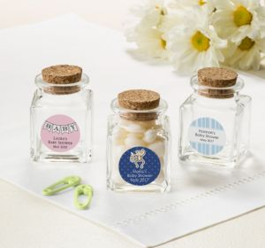 Personalized Baby Shower Small Glass Bottles with Corks (Printed Label) (Sky Blue, Swirl)