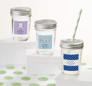 Personalized Baby Shower Mason Jars with Daisy Lids (Printed Label) (Robin's Egg Blue, Monkey)