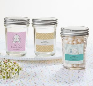 Personalized Baby Shower Mason Jars with Solid Lids (Printed Label) (Sky Blue, Polka Dots)