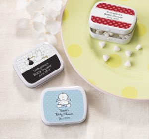 Personalized Baby Shower Mint Tins with Candy (Printed Label) (Red, Stork)