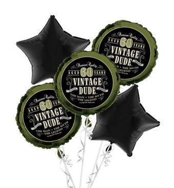 60th Birthday Balloon Bouquet 5pc - Vintage Dude