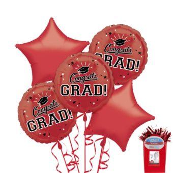 Red Graduation Balloon Bouquet 5pc