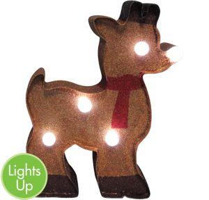 Glitter Light-Up Reindeer Marquee Sign