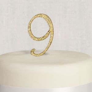 Rhinestone Gold Number 9 Cake Topper