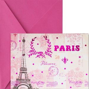 Metallic Pink Paris Note Cards 20ct