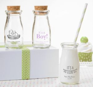 Personalized Baby Shower Glass Milk Bottles with Corks (Printed Glass) (Purple, Baby Bunting)
