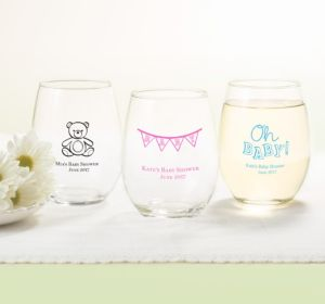 Personalized Baby Shower Stemless Wine Glasses 15oz (Printed Glass) (Sky Blue, Baby Bunting)