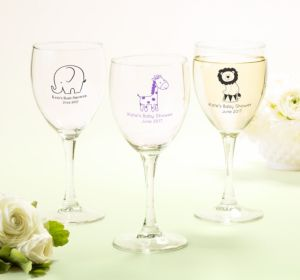 Personalized Baby Shower Wine Glasses (Printed Glass) (Silver, Monkey)