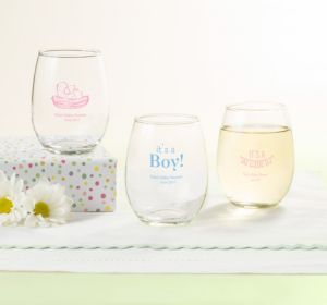 Personalized Baby Shower Stemless Wine Glasses 9oz (Printed Glass) (Sky Blue, Baby Bunting)