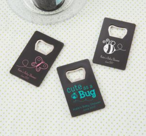 Personalized Baby Shower Credit Card Bottle Openers - Black (Printed Plastic) (Sky Blue, Butterfly)