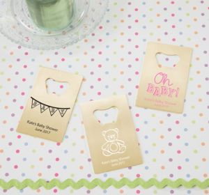 Personalized Baby Shower Credit Card Bottle Openers - Gold (Printed Metal) (Pink, Cute As A Button)