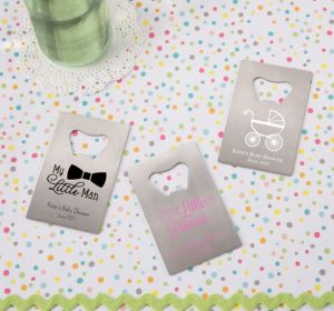 Personalized Baby Shower Credit Card Bottle Openers - Silver (Printed Metal) (Sky Blue, Sweet As Can Bee Script)