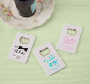Personalized Baby Shower Credit Card Bottle Openers - White (Printed Plastic) (Gold, It's A Boy)