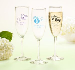 Personalized Baby Shower Champagne Flutes (Printed Glass) (White, My Little Man - Bowtie)