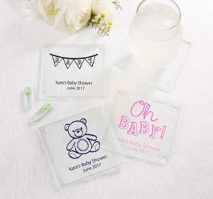 Personalized Baby Shower Glass Coasters, Set of 12 (Printed Glass) (White, Bear)
