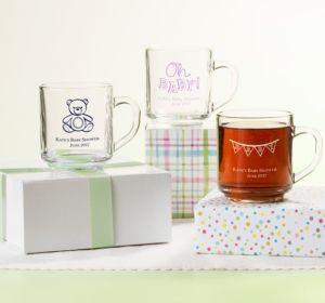Personalized Baby Shower Glass Coffee Mugs (Printed Glass) (Purple, It's A Boy Banner)