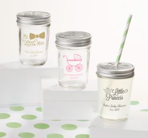 Personalized Baby Shower Mason Jars with Daisy Lids, Set of 12 (Printed Glass) (White, Pram)