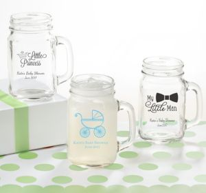 Personalized Baby Shower Mason Jar Mugs (Printed Glass) (Navy, Bird Nest)