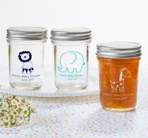 Personalized Baby Shower Mason Jars with Solid Lids (Printed Glass) (Navy, Butterfly)