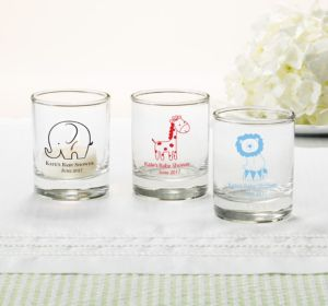 Personalized Baby Shower Shot Glasses (Printed Glass) (Navy, Bird Nest)