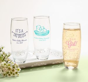 Personalized Baby Shower Stemless Champagne Flutes (Printed Glass) (Purple, It's A Girl Banner)