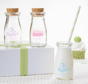 Personalized Baby Shower Glass Milk Bottles with Corks (Printed Glass) (Black, Baby Brights)