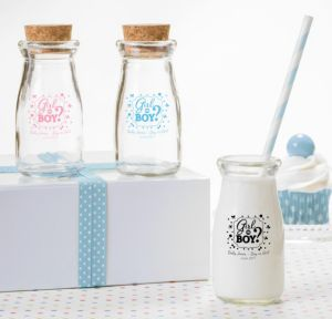Personalized Baby Shower Glass Milk Bottles with Corks (Printed Glass) (Black, Gender Reveal)