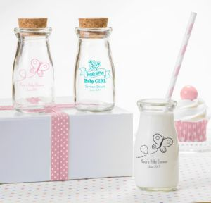 Personalized Baby Shower Glass Milk Bottles with Corks (Printed Glass) (Pink, Welcome Girl)