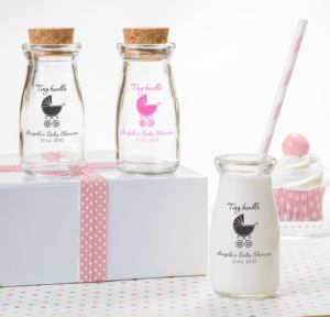 Personalized Baby Shower Glass Milk Bottles with Corks (Printed Glass) (Sky Blue, Tiny Bundle)