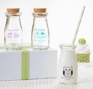 Personalized Baby Shower Glass Milk Bottles with Corks (Printed Glass) (White, Woodland)