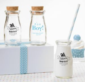 Personalized Baby Shower Glass Milk Bottles with Corks (Printed Glass) (White, Welcome Boy)