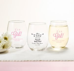 Personalized Baby Shower Stemless Wine Glasses 15oz (Printed Glass) (Black, Shower Love Girl)