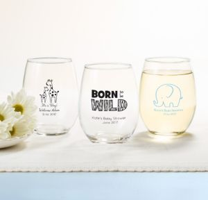 Personalized Baby Shower Stemless Wine Glasses 15oz (Printed Glass) (Sky Blue, Blue Safari)