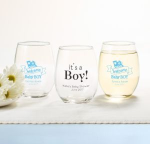 Personalized Baby Shower Stemless Wine Glasses 15oz (Printed Glass) (White, Welcome Boy)
