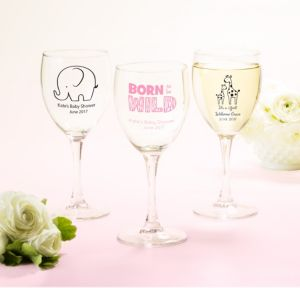 Personalized Baby Shower Wine Glasses (Printed Glass) (Black, Pink Safari)