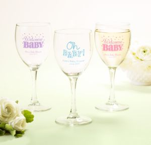 Personalized Baby Shower Wine Glasses (Printed Glass) (Pink, Baby Brights)