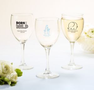 Personalized Baby Shower Wine Glasses (Printed Glass) (Sky Blue, Blue Safari)