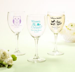 Personalized Baby Shower Wine Glasses (Printed Glass) (White, Woodland)