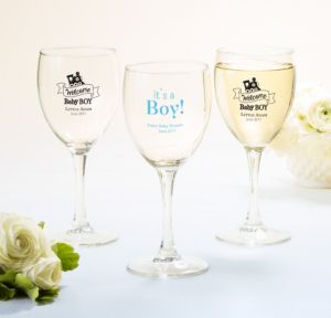 Personalized Baby Shower Wine Glasses (Printed Glass) (White, Welcome Boy)