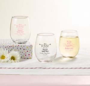 Personalized Baby Shower Stemless Wine Glasses 9oz (Printed Glass) (Black, Shower Love Girl)