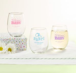 Personalized Baby Shower Stemless Wine Glasses 9oz (Printed Glass) (Pink, Baby Brights)