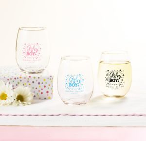 Personalized Baby Shower Stemless Wine Glasses 9oz (Printed Glass) (Pink, Gender Reveal)