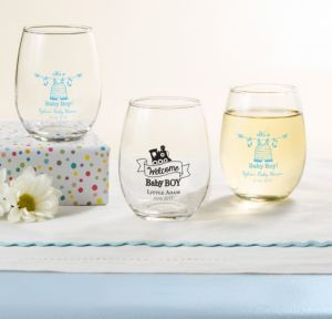 Personalized Baby Shower Stemless Wine Glasses 9oz (Printed Glass) (Sky Blue, Shower Love Boy)