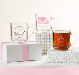 Personalized Baby Shower Glass Coffee Mugs (Printed Glass) (Bright Pink, Pink Safari)