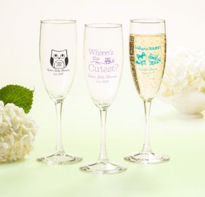Personalized Baby Shower Champagne Flutes (Printed Glass) (Black, Woodland)